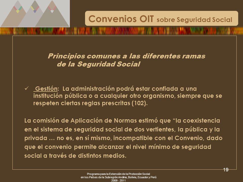 Programa para la Extensión de la Protección Social en los Países de la Subregión Andina, Bolivia, Ecuador y Perú 2009 - 2011 19 Convenios OIT sobre Se