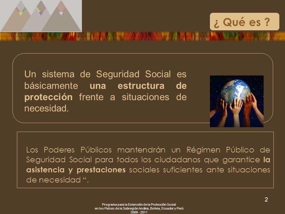 Programa para la Extensión de la Protección Social en los Países de la Subregión Andina, Bolivia, Ecuador y Perú 2009 - 2011 2 ¿ Qué es ? Los Poderes