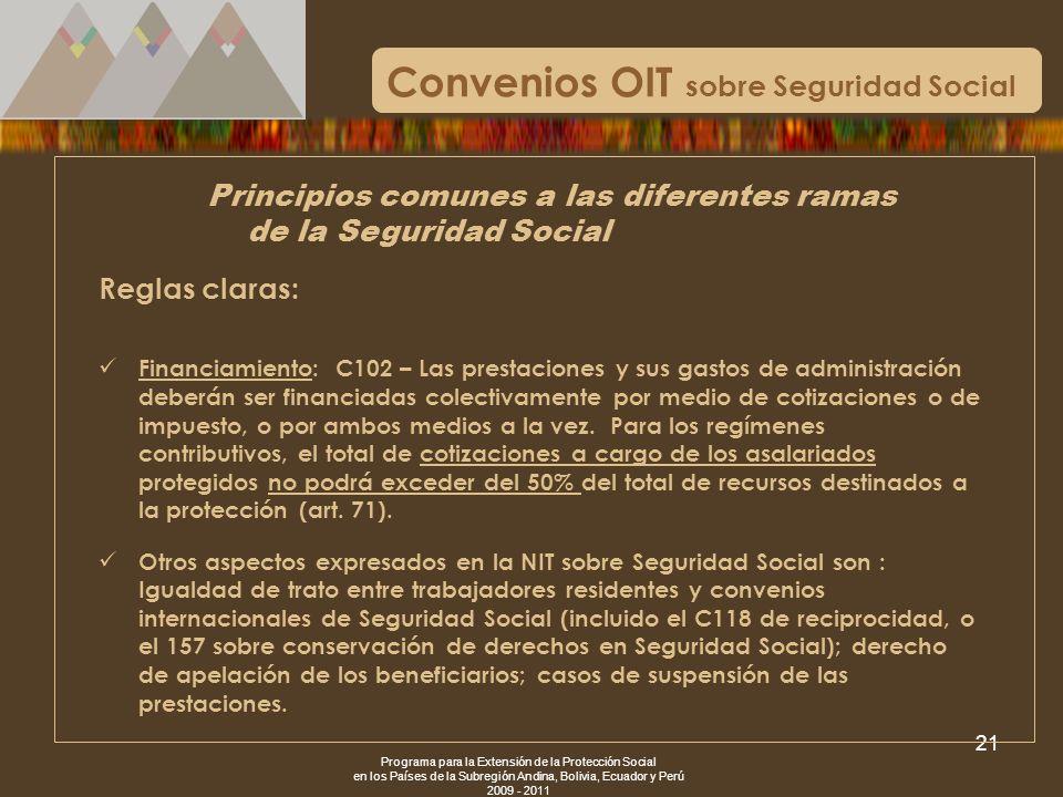 Programa para la Extensión de la Protección Social en los Países de la Subregión Andina, Bolivia, Ecuador y Perú 2009 - 2011 21 Convenios OIT sobre Se