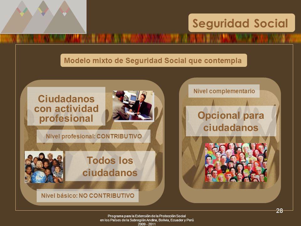 Programa para la Extensión de la Protección Social en los Países de la Subregión Andina, Bolivia, Ecuador y Perú 2009 - 2011 28 Modelo mixto de Seguri