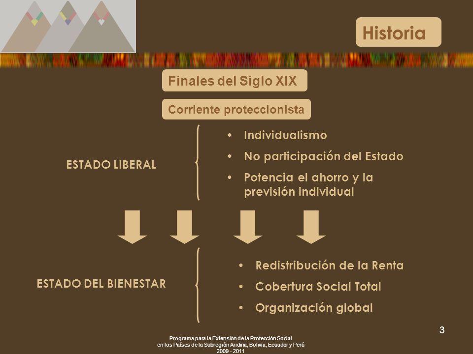 Programa para la Extensión de la Protección Social en los Países de la Subregión Andina, Bolivia, Ecuador y Perú 2009 - 2011 3 Historia Finales del Si