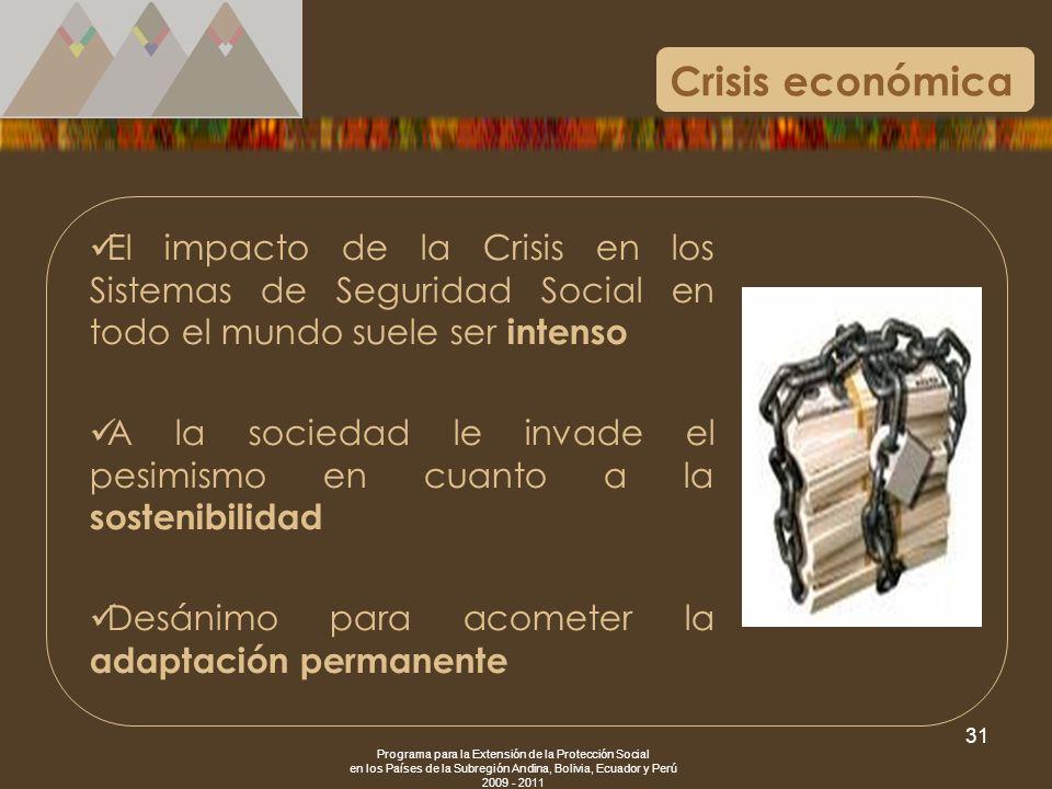 Programa para la Extensión de la Protección Social en los Países de la Subregión Andina, Bolivia, Ecuador y Perú 2009 - 2011 31 El impacto de la Crisi