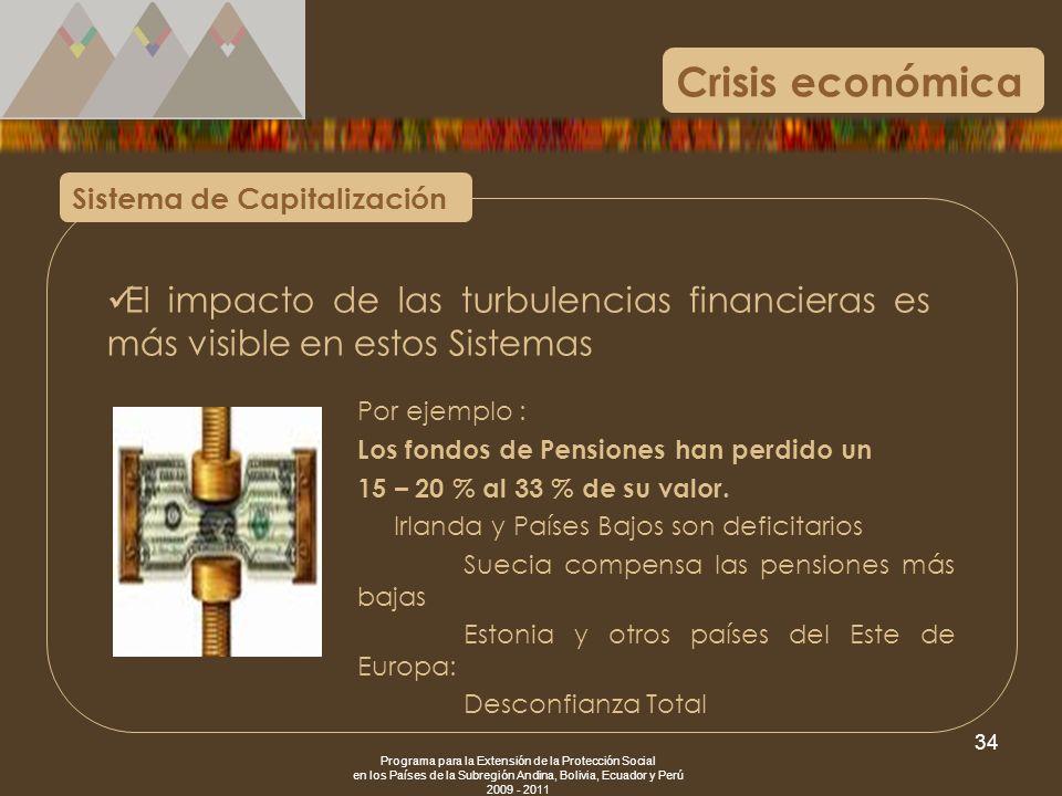 Programa para la Extensión de la Protección Social en los Países de la Subregión Andina, Bolivia, Ecuador y Perú 2009 - 2011 34 Crisis económica Siste