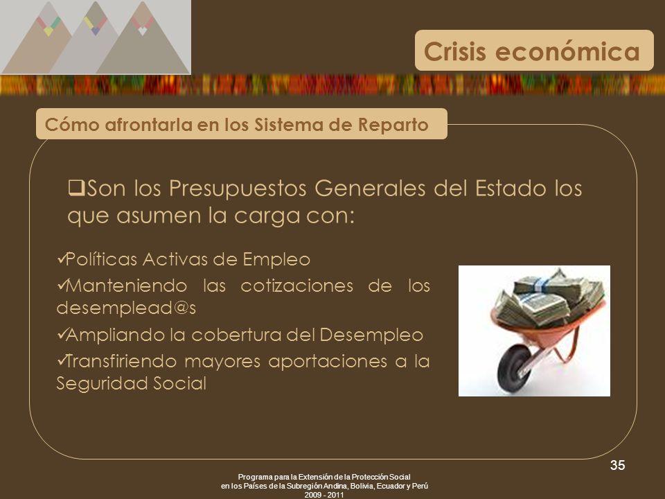 Programa para la Extensión de la Protección Social en los Países de la Subregión Andina, Bolivia, Ecuador y Perú 2009 - 2011 35 Crisis económica Cómo