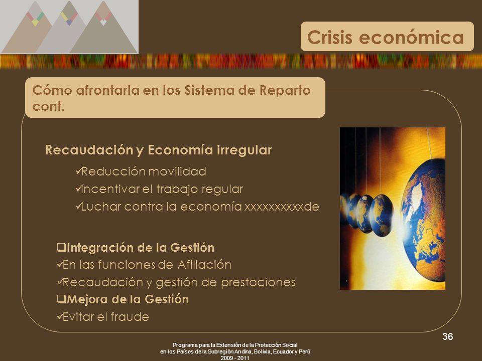 Programa para la Extensión de la Protección Social en los Países de la Subregión Andina, Bolivia, Ecuador y Perú 2009 - 2011 36 Crisis económica Cómo