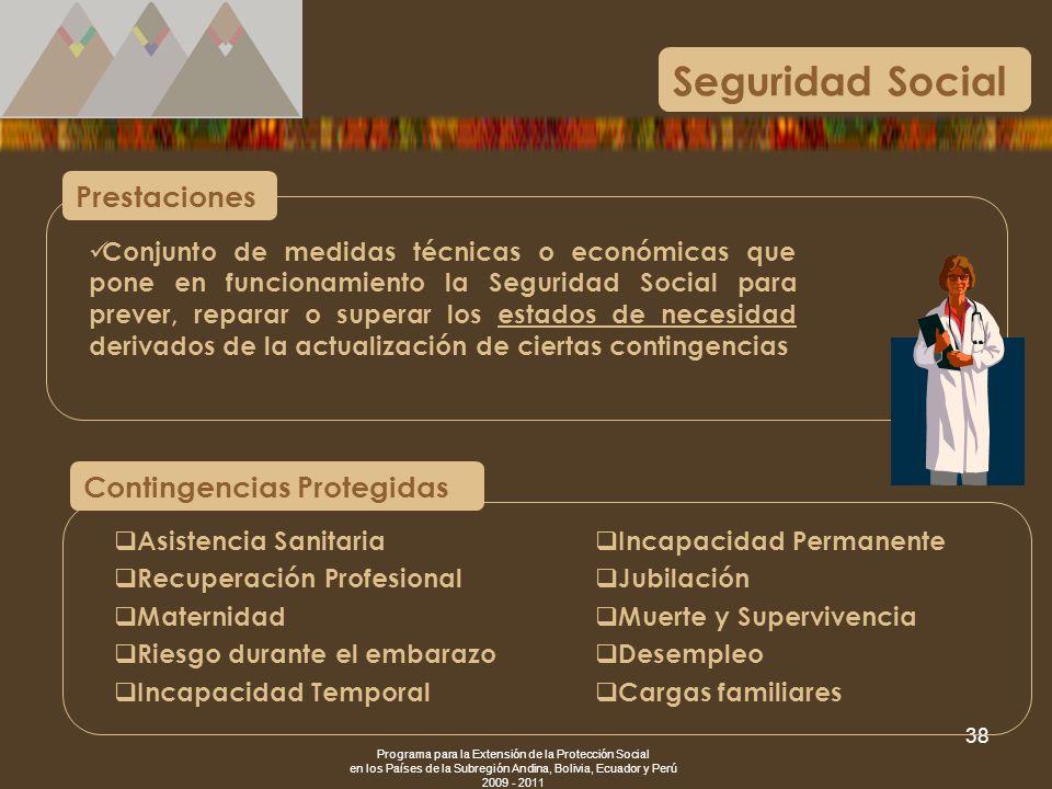 Programa para la Extensión de la Protección Social en los Países de la Subregión Andina, Bolivia, Ecuador y Perú 2009 - 2011 38 Conjunto de medidas té