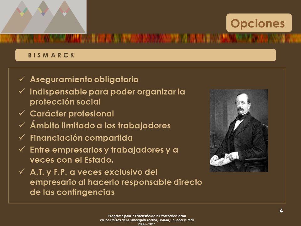 Programa para la Extensión de la Protección Social en los Países de la Subregión Andina, Bolivia, Ecuador y Perú 2009 - 2011 4 B I S M A R C K Opcione