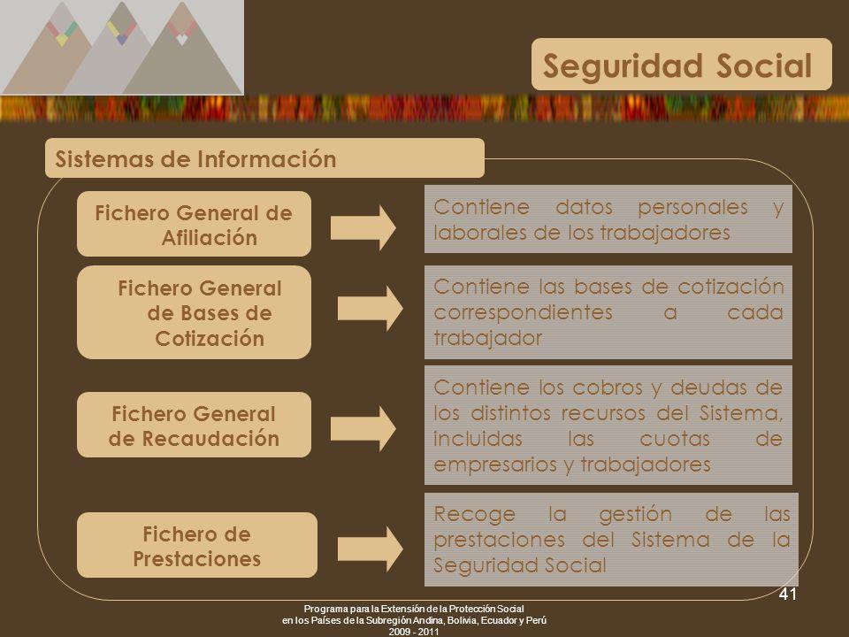 Programa para la Extensión de la Protección Social en los Países de la Subregión Andina, Bolivia, Ecuador y Perú 2009 - 2011 41 Seguridad Social Siste