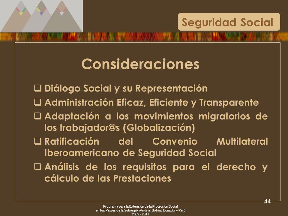 Programa para la Extensión de la Protección Social en los Países de la Subregión Andina, Bolivia, Ecuador y Perú 2009 - 2011 44 Seguridad Social Consi