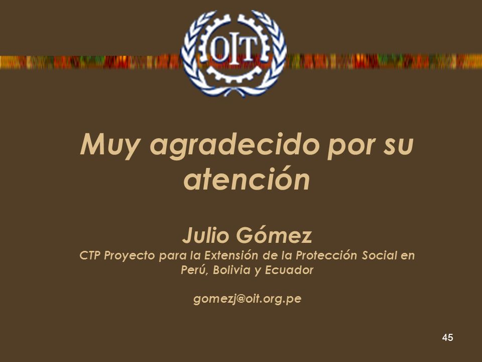 Programa para la Extensión de la Protección Social en los Países de la Subregión Andina, Bolivia, Ecuador y Perú 2009 - 2011 45 Muy agradecido por su