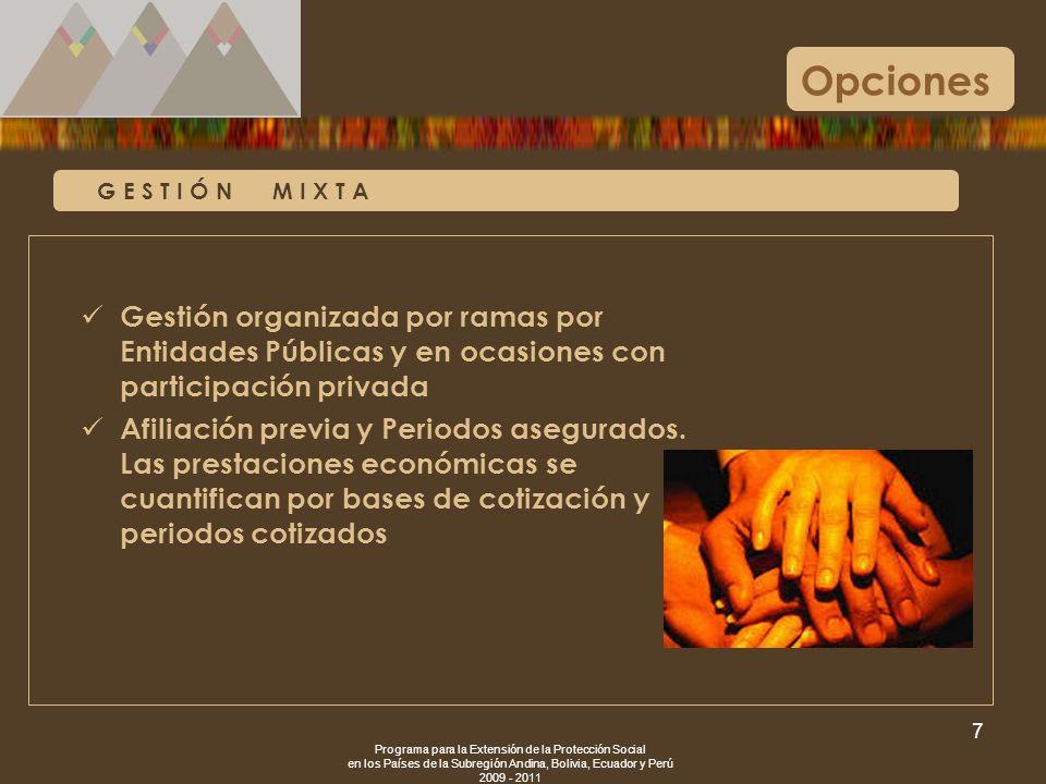 Programa para la Extensión de la Protección Social en los Países de la Subregión Andina, Bolivia, Ecuador y Perú 2009 - 2011 7 G E S T I Ó N M I X T A