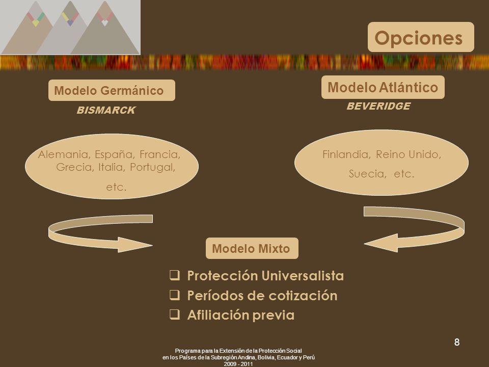 Programa para la Extensión de la Protección Social en los Países de la Subregión Andina, Bolivia, Ecuador y Perú 2009 - 2011 8 Opciones Modelo Atlánti
