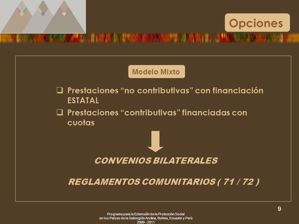 Programa para la Extensión de la Protección Social en los Países de la Subregión Andina, Bolivia, Ecuador y Perú 2009 - 2011 9 Modelo Mixto Opciones P