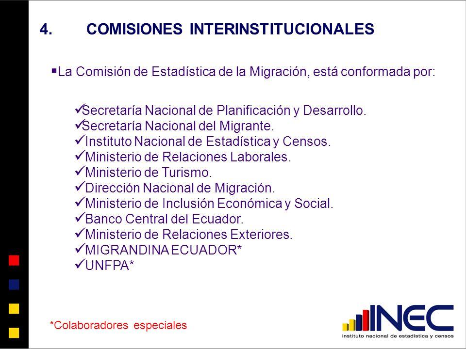 4.COMISIONES INTERINSTITUCIONALES La Comisión de Estadística de la Migración, está conformada por: Secretaría Nacional de Planificación y Desarrollo.