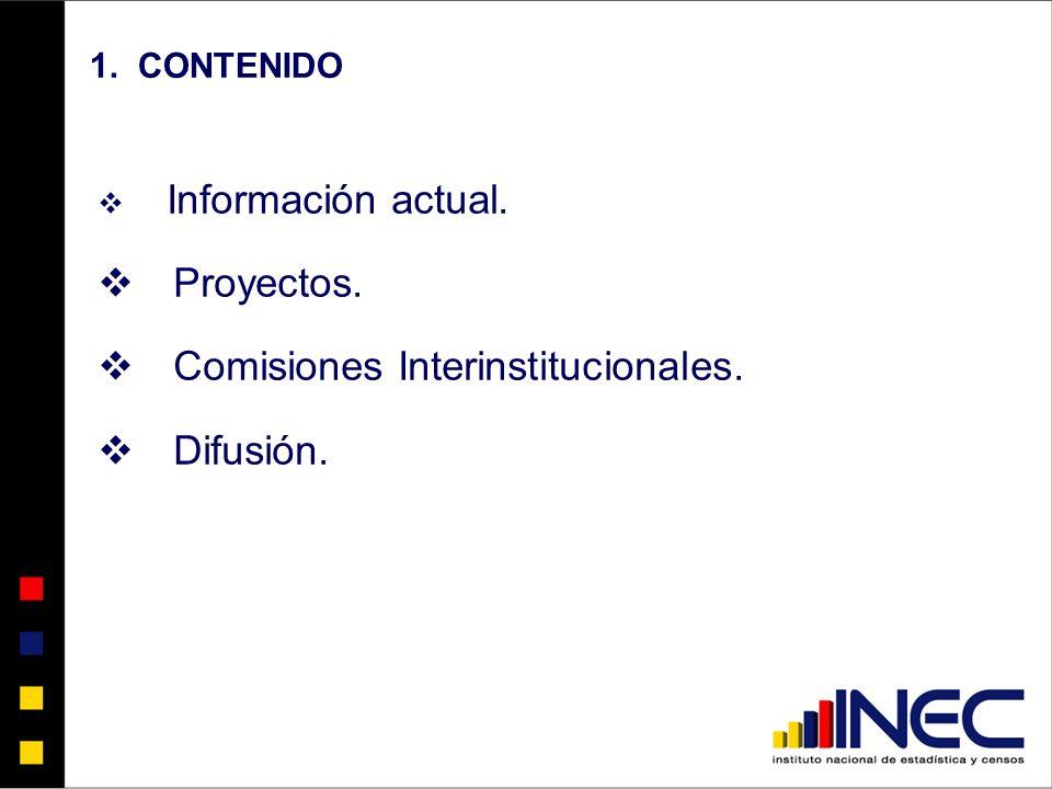 1. CONTENIDO Información actual. Proyectos. Comisiones Interinstitucionales. Difusión.