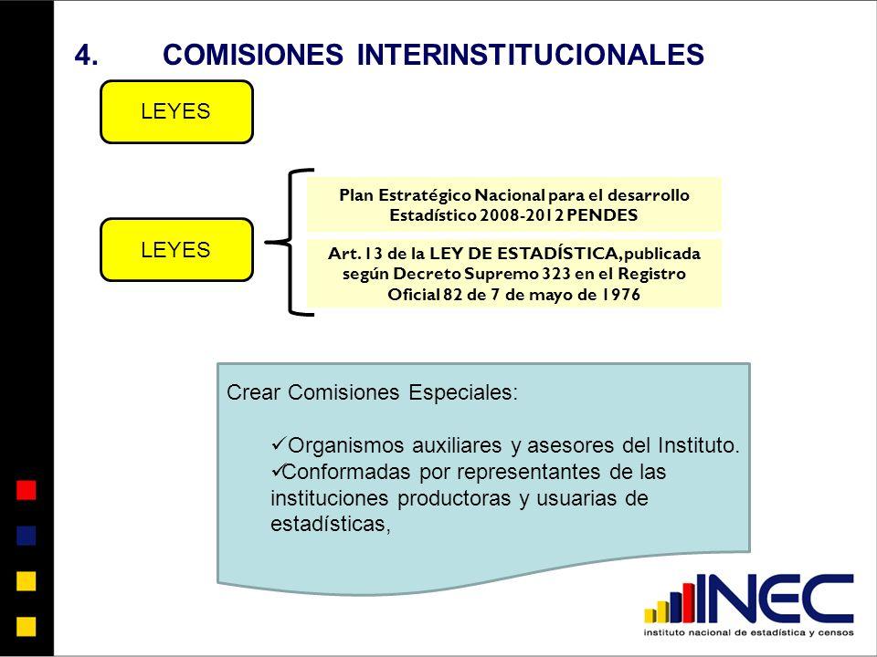 4.COMISIONES INTERINSTITUCIONALES LEYES Plan Estratégico Nacional para el desarrollo Estadístico 2008-2012 PENDES Art.
