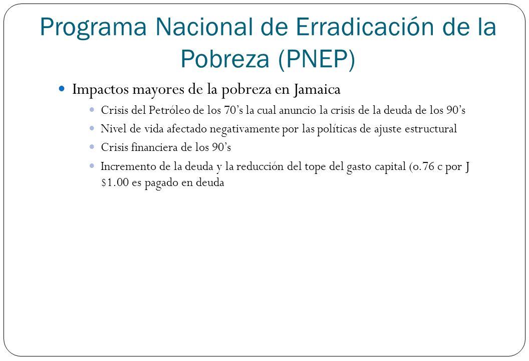 Programa Nacional de Erradicación de la Pobreza (PNEP) Impactos mayores de la pobreza en Jamaica Crisis del Petróleo de los 70s la cual anuncio la cri