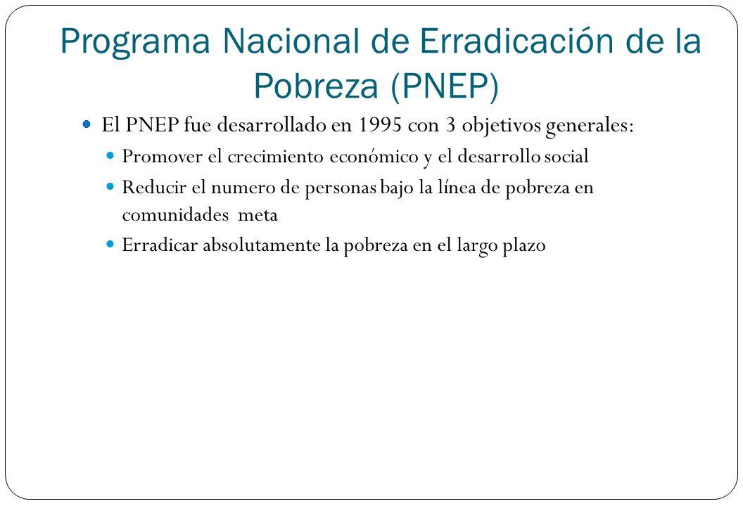 El PNEP fue desarrollado en 1995 con 3 objetivos generales: Promover el crecimiento económico y el desarrollo social Reducir el numero de personas baj