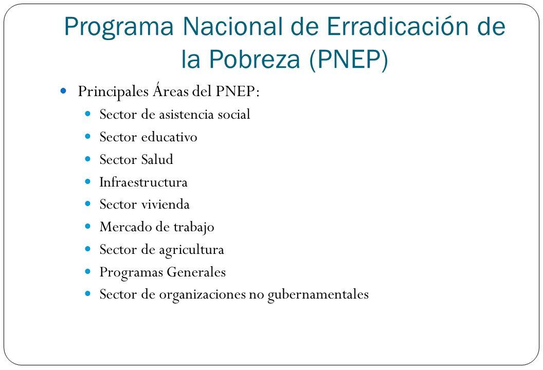 Principales Áreas del PNEP: Sector de asistencia social Sector educativo Sector Salud Infraestructura Sector vivienda Mercado de trabajo Sector de agr