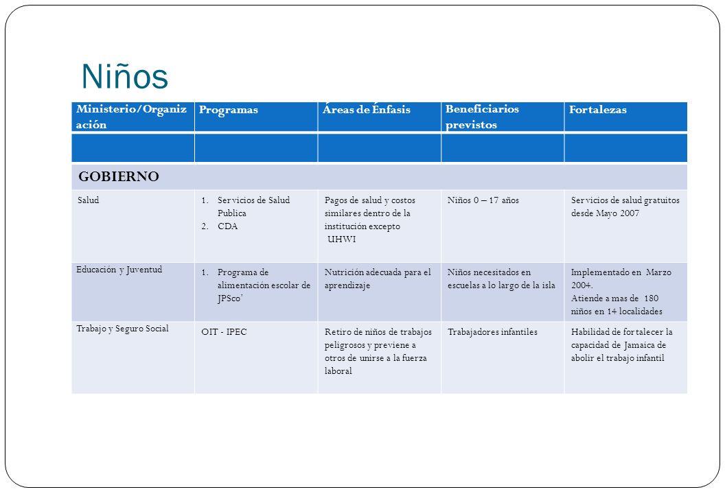 Niños Ministerio/Organiz ación ProgramasÁreas de ÉnfasisBeneficiarios previstos Fortalezas GOBIERNO Salud1.Servicios de Salud Publica 2.CDA Pagos de s
