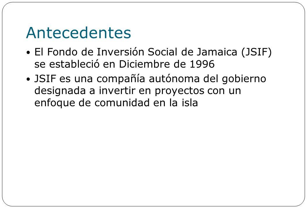 Antecedentes El Fondo de Inversión Social de Jamaica (JSIF) se estableció en Diciembre de 1996 JSIF es una compañía autónoma del gobierno designada a