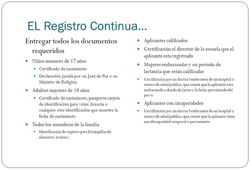 EL Registro Continua... Entregar todos los documentos requeridos Niños menores de 17 años Certificado de nacimiento Declaración jurada por un Juez de