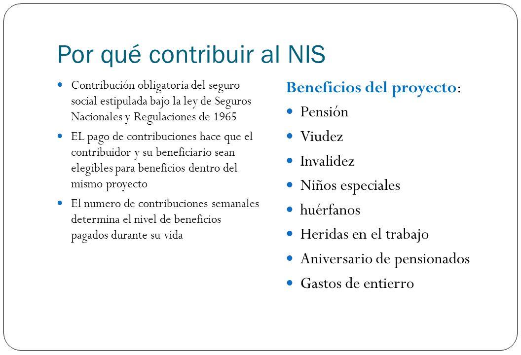 Por qué contribuir al NIS Contribución obligatoria del seguro social estipulada bajo la ley de Seguros Nacionales y Regulaciones de 1965 EL pago de co