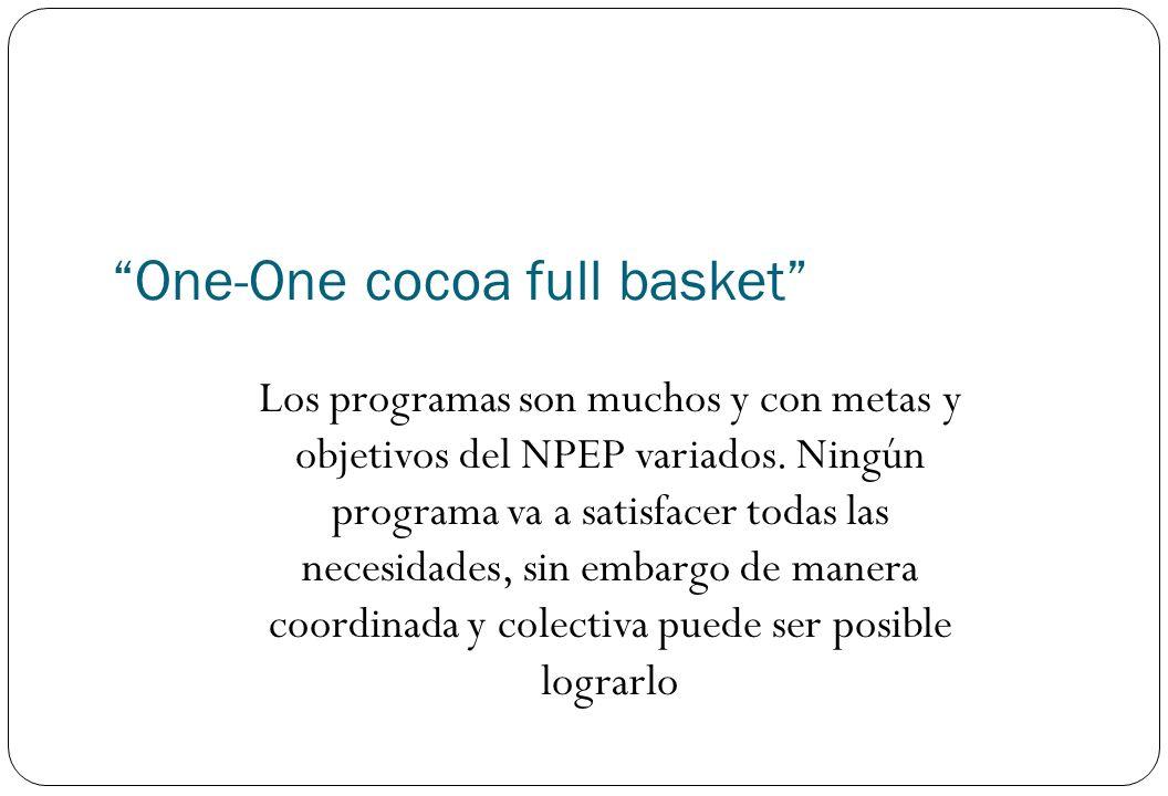 One-One cocoa full basket Los programas son muchos y con metas y objetivos del NPEP variados. Ningún programa va a satisfacer todas las necesidades, s