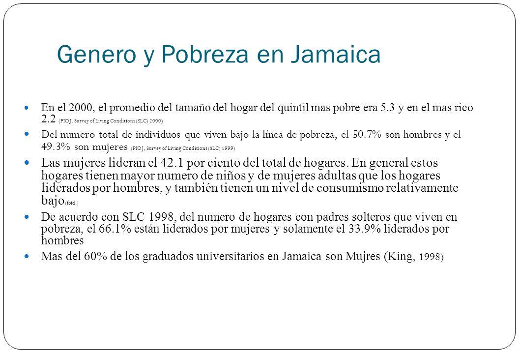 Genero y Pobreza en Jamaica En el 2000, el promedio del tamaño del hogar del quintil mas pobre era 5.3 y en el mas rico 2.2 (PIOJ, Survey of Living Co