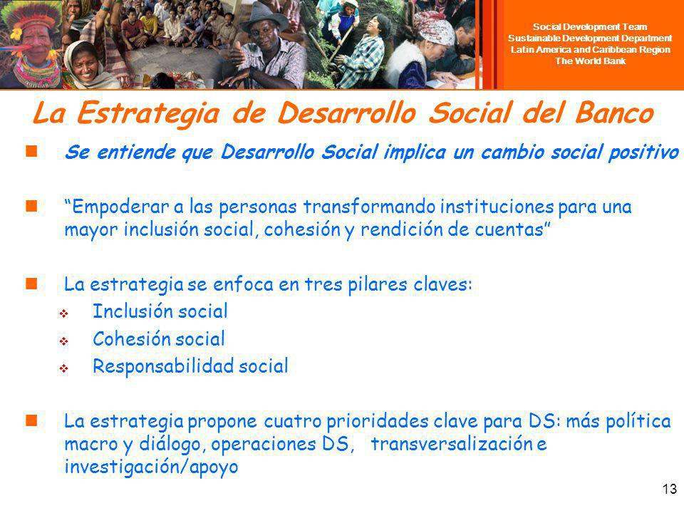 Social Development Team Sustainable Development Department Latin America and Caribbean Region The World Bank 13 La Estrategia de Desarrollo Social del
