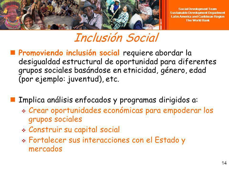 Social Development Team Sustainable Development Department Latin America and Caribbean Region The World Bank 14 Inclusión Social Promoviendo inclusión social requiere abordar la desigualdad estructural de oportunidad para diferentes grupos sociales basándose en etnicidad, género, edad (por ejemplo: juventud), etc.