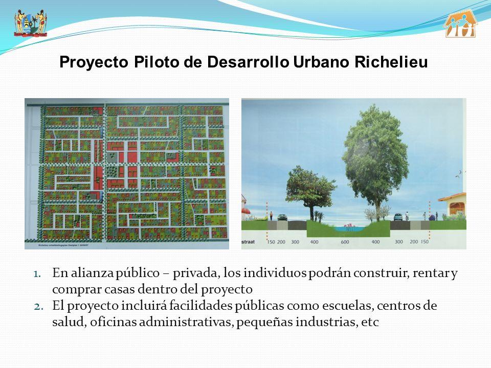 Proyecto Piloto de Desarrollo Urbano Richelieu 1.En alianza público – privada, los individuos podrán construir, rentar y comprar casas dentro del proyecto 2.El proyecto incluirá facilidades públicas como escuelas, centros de salud, oficinas administrativas, pequeñas industrias, etc