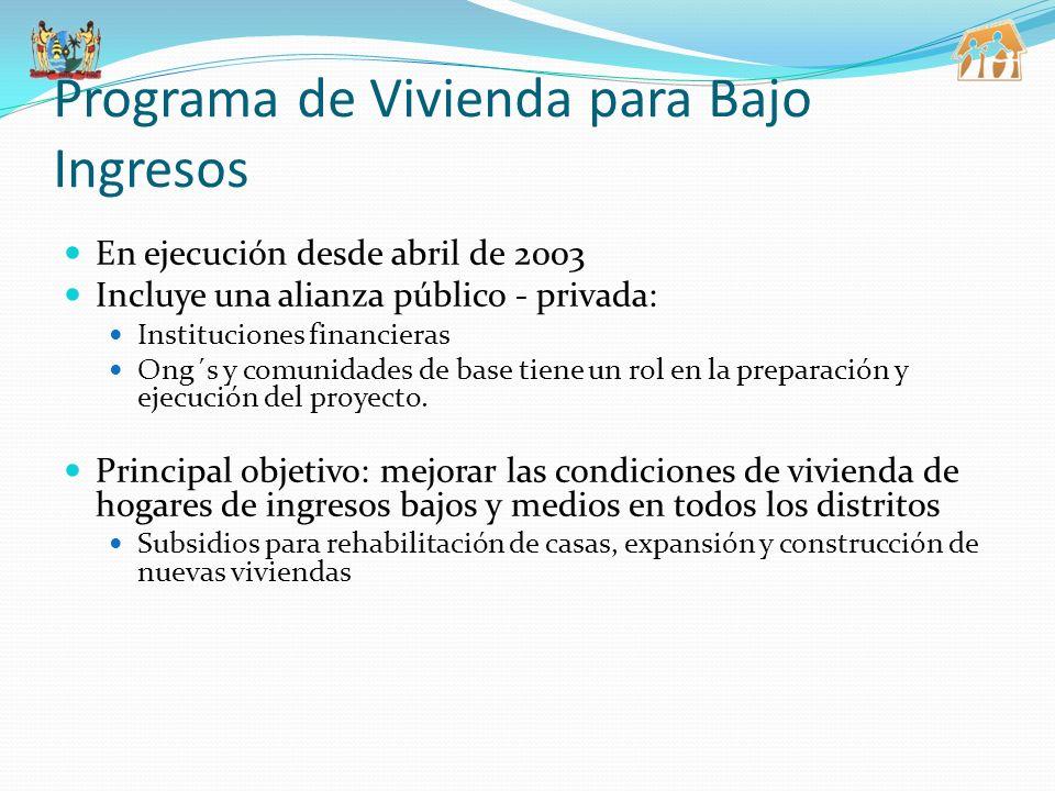 Programa de Vivienda para Bajo Ingresos En ejecución desde abril de 2003 Incluye una alianza público - privada: Instituciones financieras Ong´s y comunidades de base tiene un rol en la preparación y ejecución del proyecto.