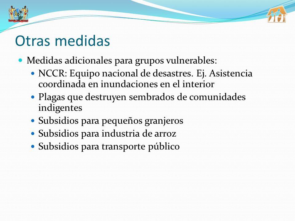Otras medidas Medidas adicionales para grupos vulnerables: NCCR: Equipo nacional de desastres.
