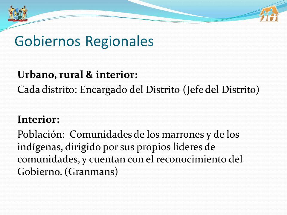 Gobiernos Regionales Urbano, rural & interior: Cada distrito: Encargado del Distrito (Jefe del Distrito) Interior: Población: Comunidades de los marrones y de los indígenas, dirigido por sus propios líderes de comunidades, y cuentan con el reconocimiento del Gobierno.