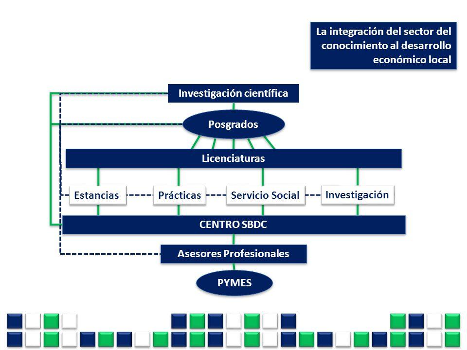 La integración del sector del conocimiento al desarrollo económico local Investigación científica Licenciaturas Estancias Prácticas Servicio Social In