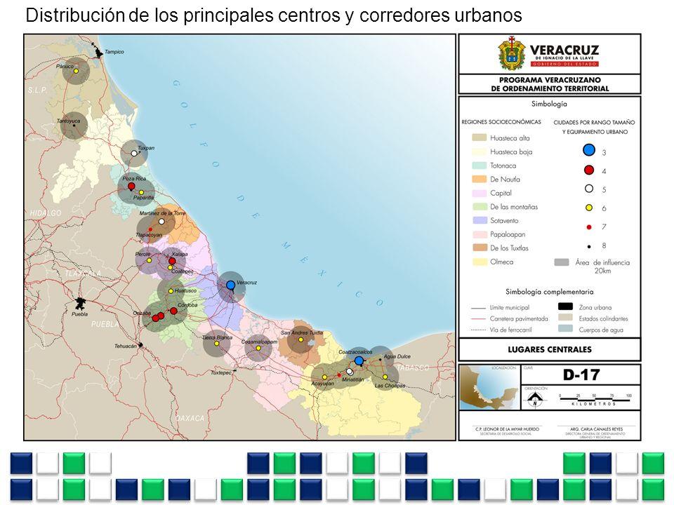 Distribución de los principales centros y corredores urbanos