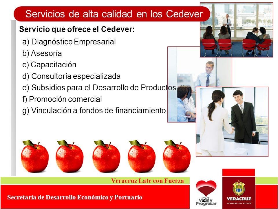 Servicio que ofrece el Cedever: Servicios de alta calidad en los Cedever Veracruz Late con Fuerza Secretaría de Desarrollo Económico y Portuario a) Di