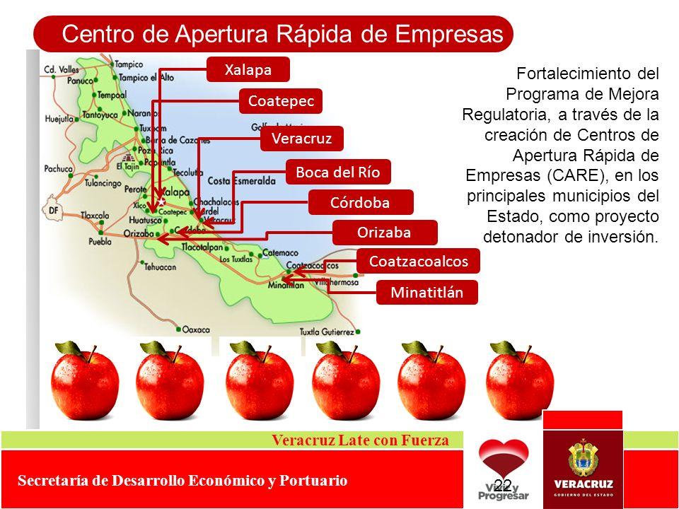 Centro de Apertura Rápida de Empresas Veracruz Late con Fuerza Secretaría de Desarrollo Económico y Portuario Fortalecimiento del Programa de Mejora R