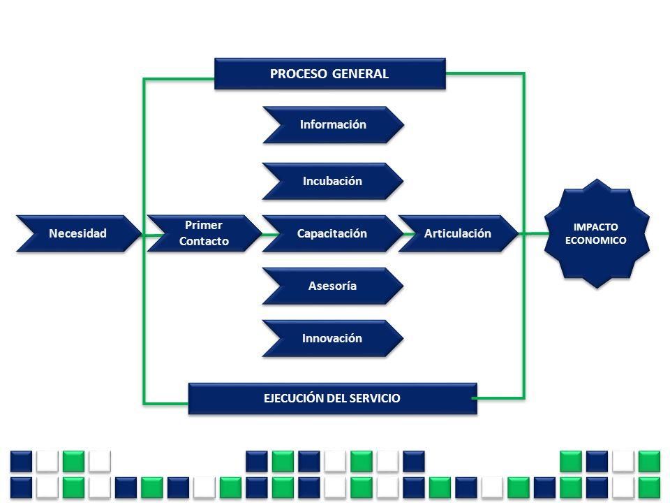 Primer Contacto Primer Contacto Capacitación Necesidad Incubación Asesoría Innovación Articulación IMPACTO ECONOMICO IMPACTO ECONOMICO EJECUCIÓN DEL S