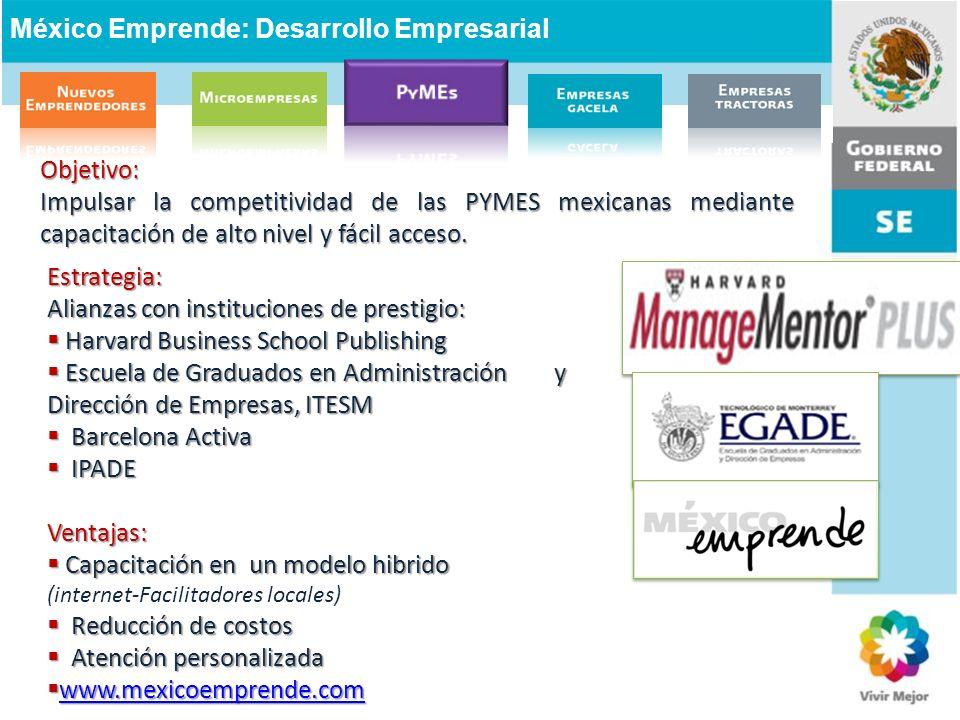 Objetivo: Impulsar la competitividad de las PYMES mexicanas mediante capacitación de alto nivel y fácil acceso. Estrategia: Alianzas con instituciones