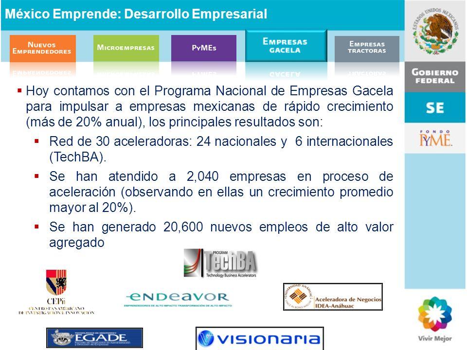 Hoy contamos con el Programa Nacional de Empresas Gacela para impulsar a empresas mexicanas de rápido crecimiento (más de 20% anual), los principales