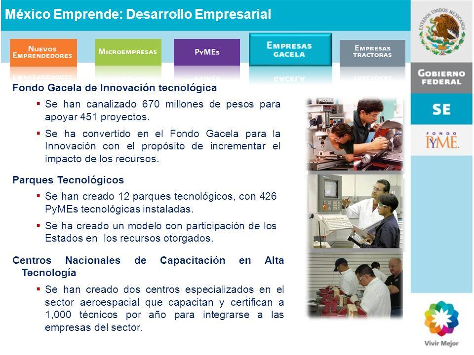 Fondo Gacela de Innovación tecnológica Se han canalizado 670 millones de pesos para apoyar 451 proyectos. Se ha convertido en el Fondo Gacela para la