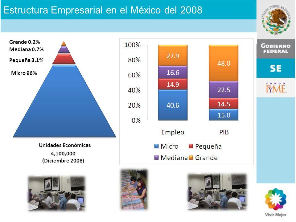 Unidades Económicas Micro 96% 4,100,000 (Diciembre 2008) Pequeña 3.1% Mediana 0.7% Grande 0.2% Estructura Empresarial en el México del 2008
