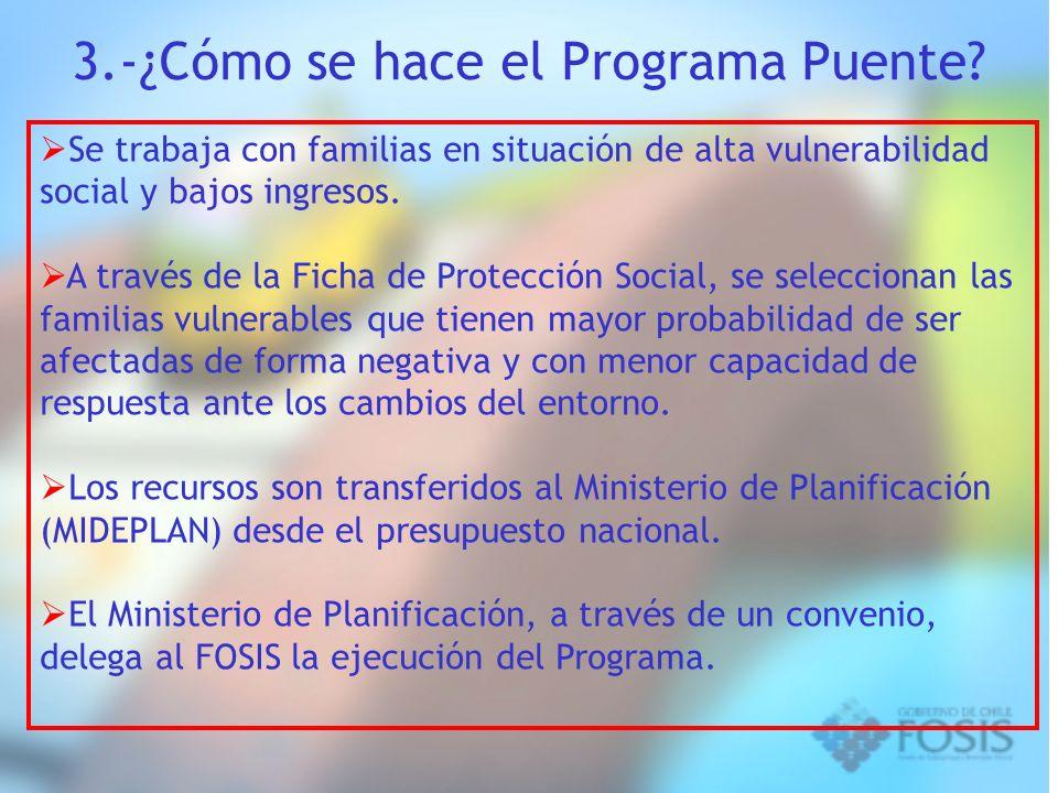 3.-¿Cómo se hace el Programa Puente? Se trabaja con familias en situación de alta vulnerabilidad social y bajos ingresos. A través de la Ficha de Prot