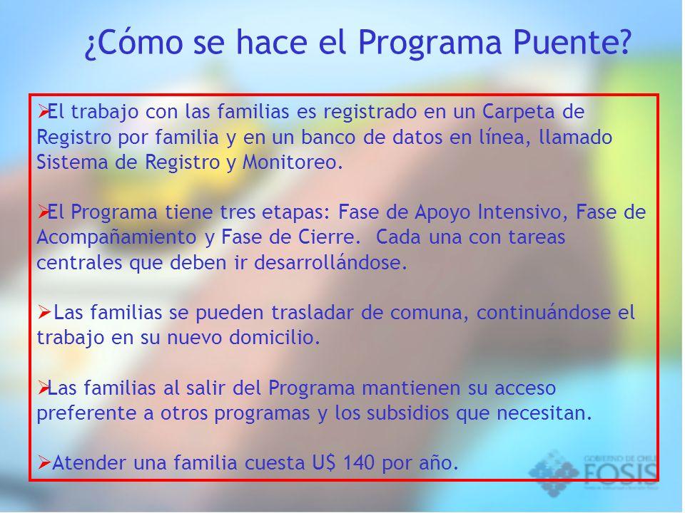 El trabajo con las familias es registrado en un Carpeta de Registro por familia y en un banco de datos en línea, llamado Sistema de Registro y Monitor