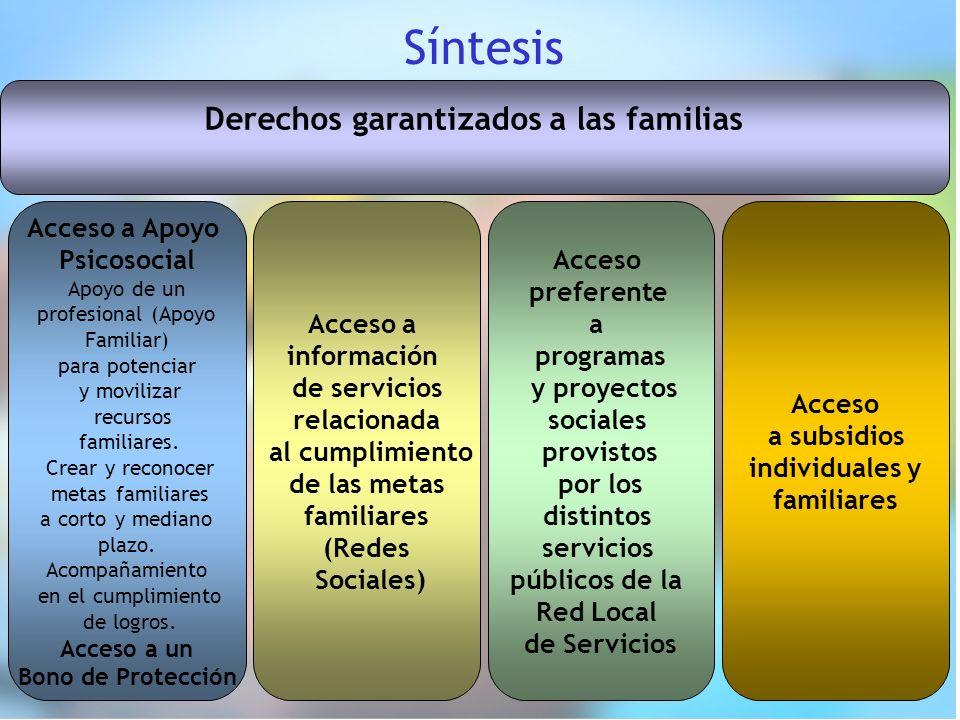 Síntesis Derechos garantizados a las familias Acceso a Apoyo Psicosocial Apoyo de un profesional (Apoyo Familiar) para potenciar y movilizar recursos