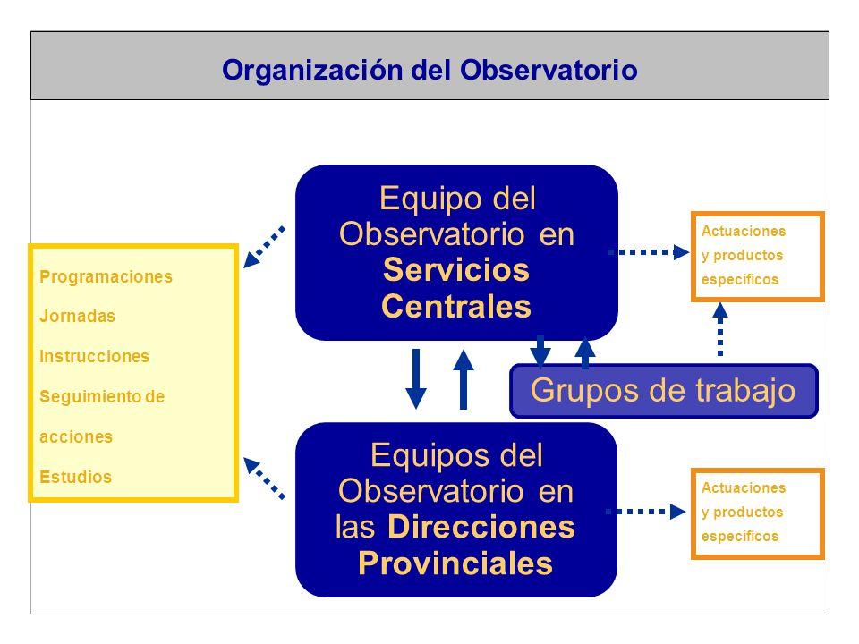 Equipo del Observatorio en Servicios Centrales Equipos del Observatorio en las Direcciones Provinciales Programaciones Jornadas Instrucciones Seguimiento de acciones Estudios Actuaciones y productos específicos Actuaciones y productos específicos Organización del Observatorio Grupos de trabajo