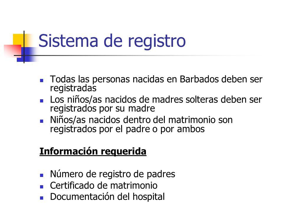 Sistema de registro Todas las personas nacidas en Barbados deben ser registradas Los niños/as nacidos de madres solteras deben ser registrados por su