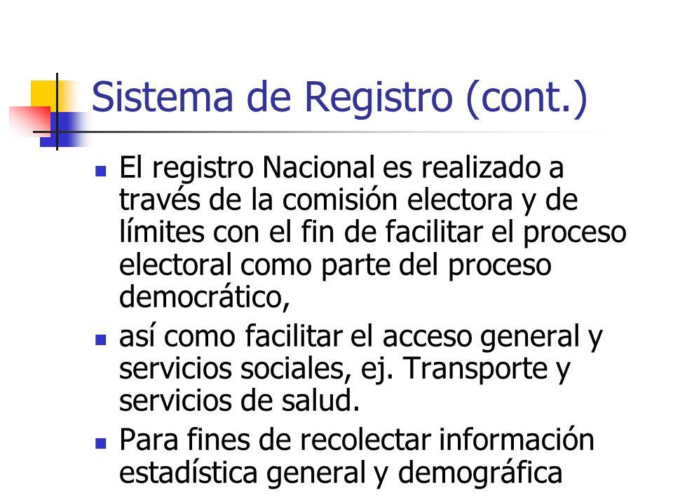 Sistema de Registro (cont.) El registro Nacional es realizado a través de la comisión electora y de límites con el fin de facilitar el proceso elector